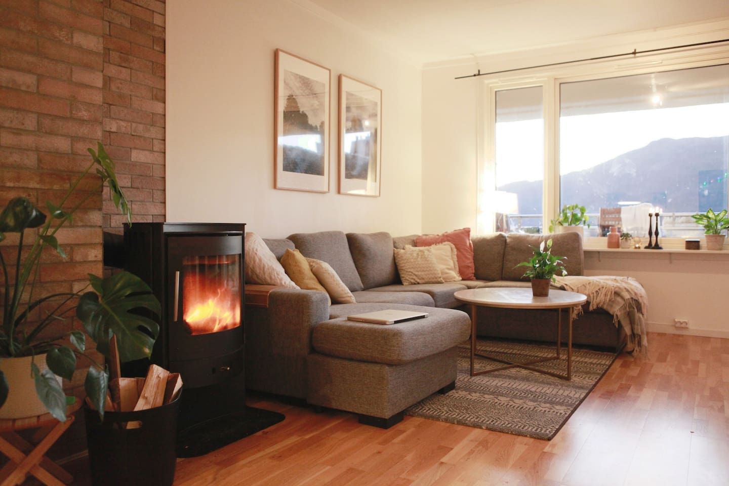 Living room,  with a very comfortable sofa and a nice mountain view