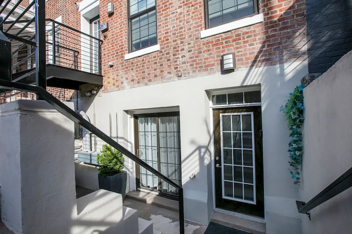 Main entrance for basement condominium. Double lock door and alarm system for added security.