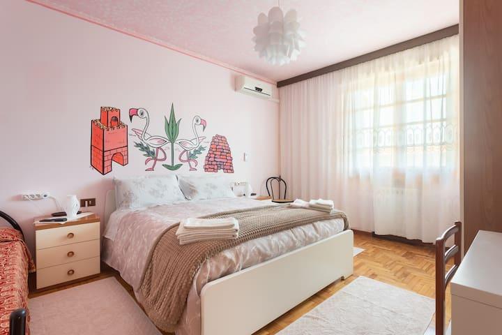 Ampia camera ,climatizzata, con bagno privato esterno