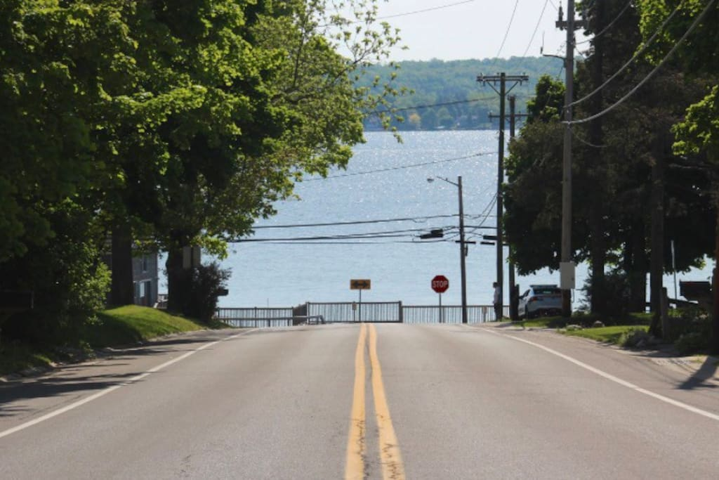 Straight view from the road at the edge of our driveway of beautiful Canandaigua Lake.