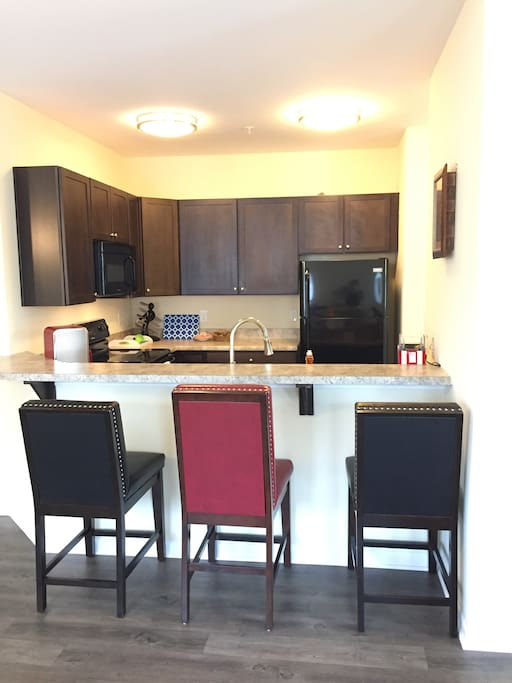 Full kitchen with food to get you started, a coffee pot and coffee, just get here and start relaxing.