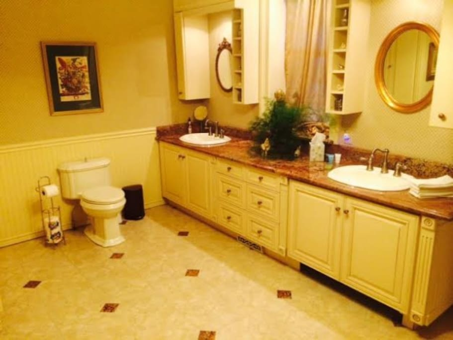 Large bathroom with walk-in/wheelchair accessible shower