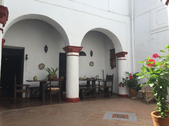 Main central patio, where guests can sit and enjoy a drink, eat or just take in the ambience of this beautiful traditional area.