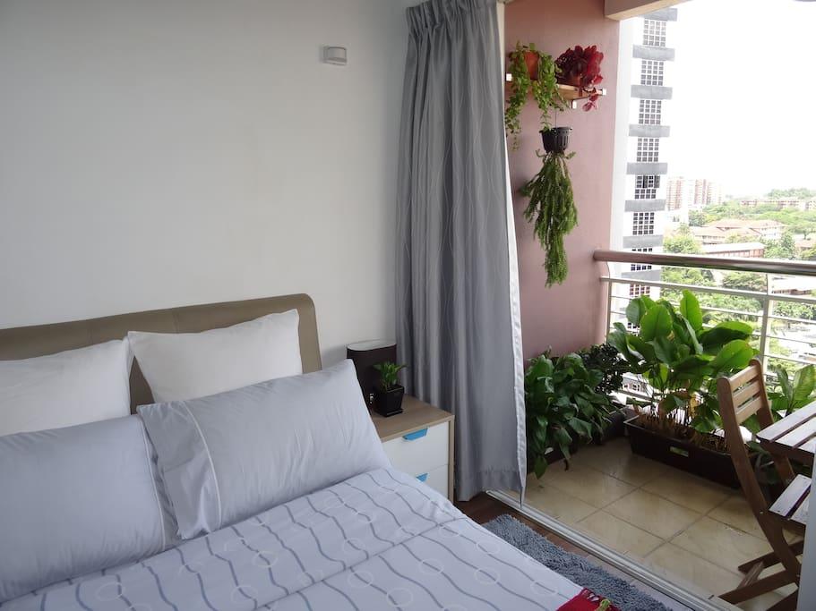 Balcony & bed