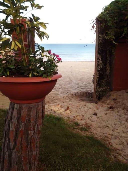 Ingresso sulla spiaggia direttamente dal giardino