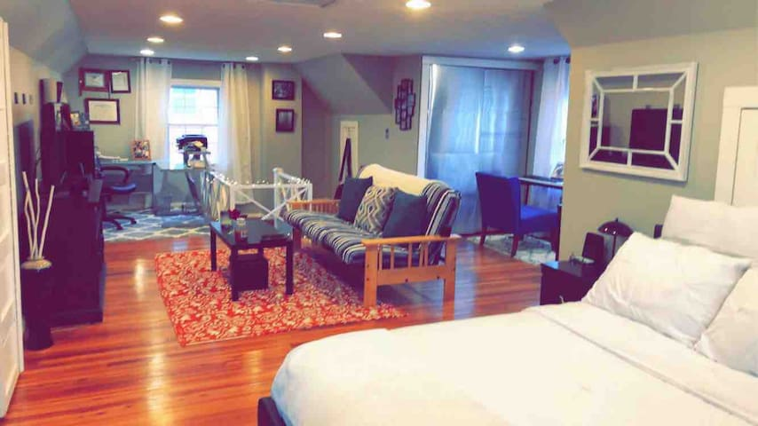 Master bedroom in quaint home!
