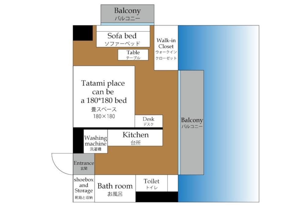 部屋の広さは、26.6㎡です。