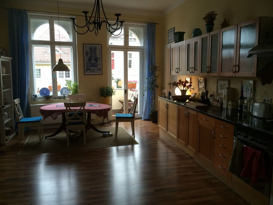 Kitchen and dining table with balcony