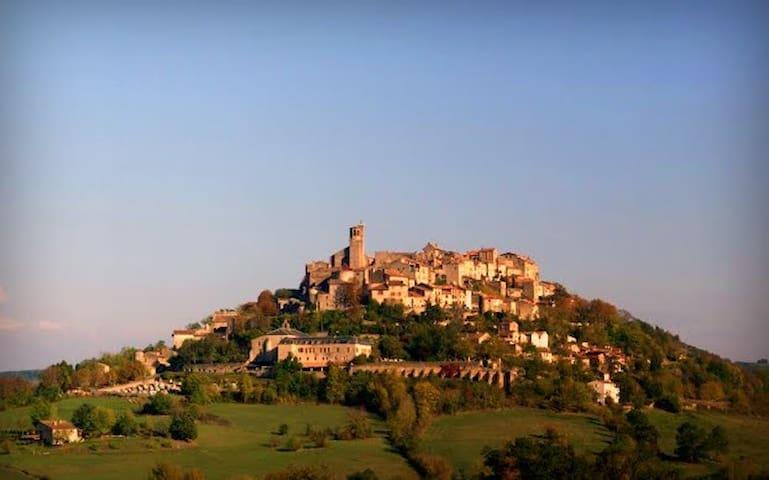 Cordes-sur-Ciel.  Mill with spectacular views