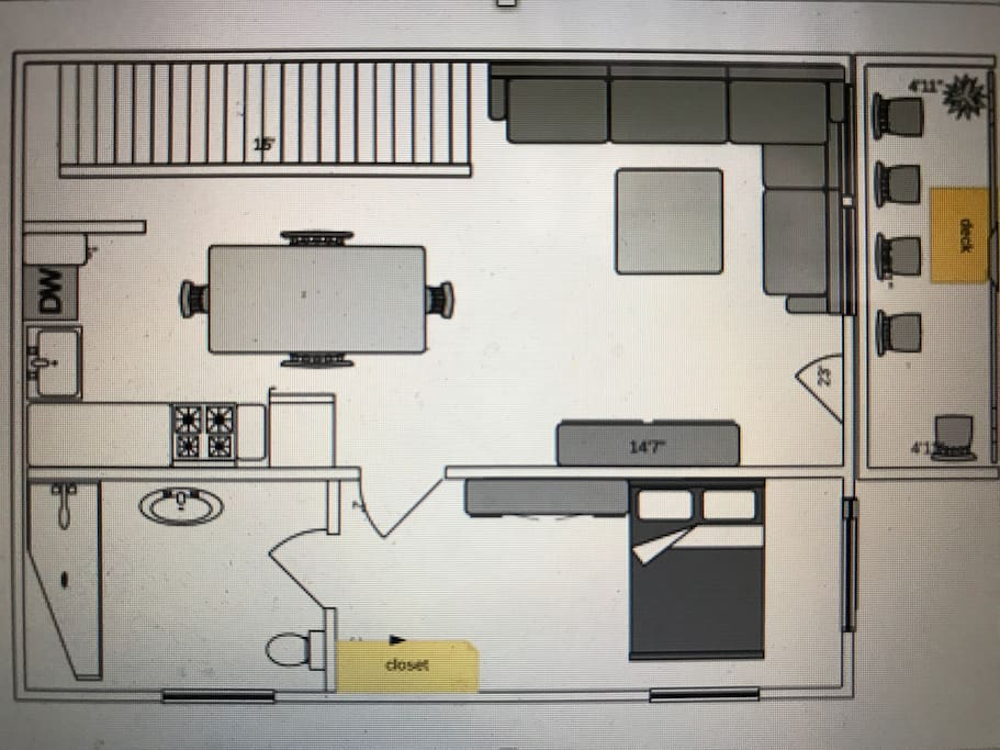 Floor Plan-Second Floor with LR/K/DR. Also Queen Bedroom with En Suite Bathroom