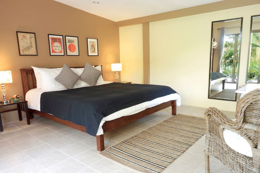 Studio size 38 square meters with a patio. Sleeps 2 guests with a king size bed.