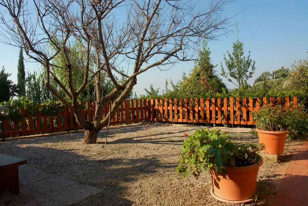La terrazza con vista davanti all'entrata