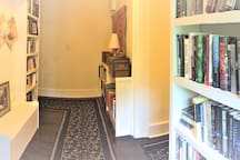 On the second floor is a large lending library to use during your visit.