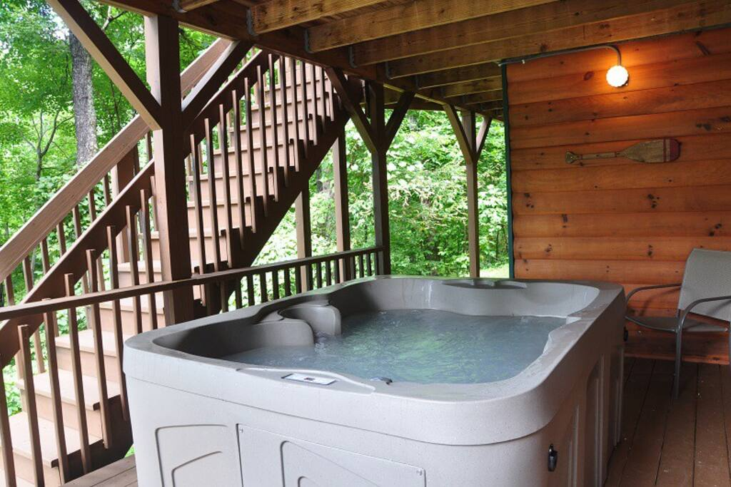 The Hot Tub Can Be Enjoyed Rain or Shine