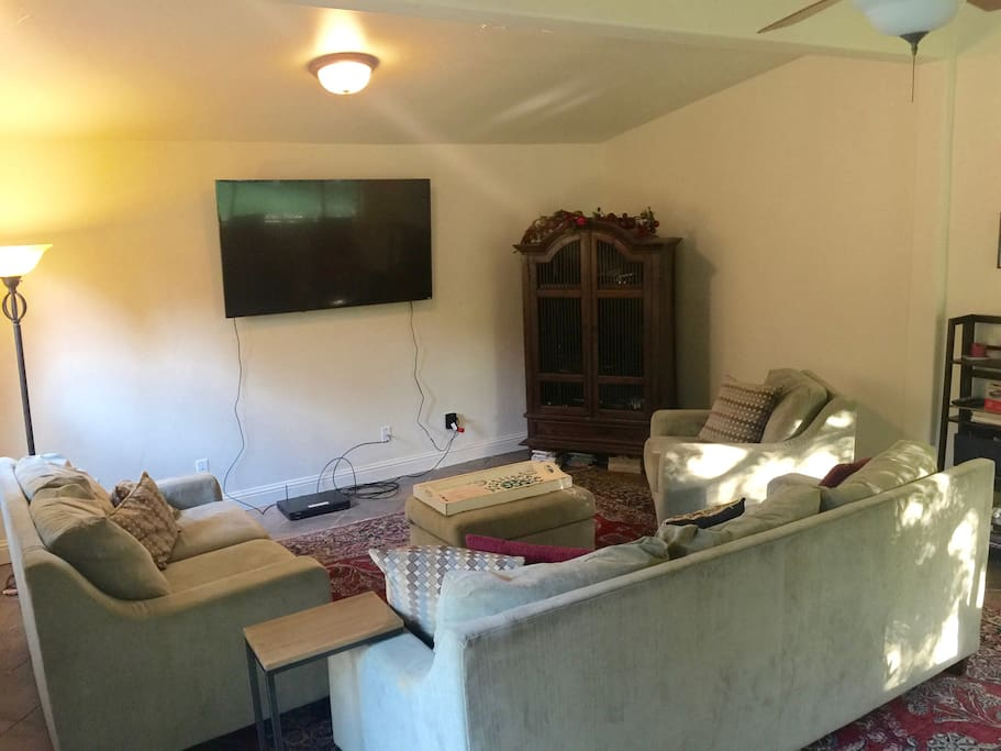 The comfy and spacious TV room.