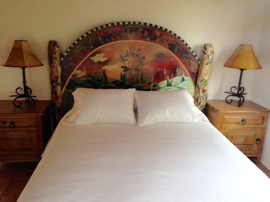 Hand painted Headboard Queen Bed