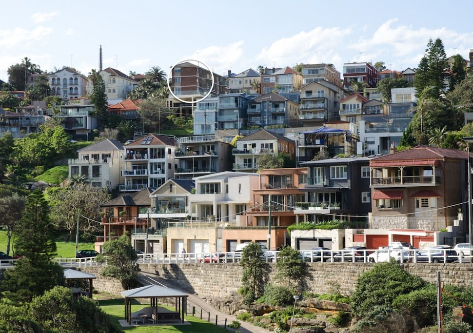 Our location circled WHITE - view of the apartment from Tamarama beach