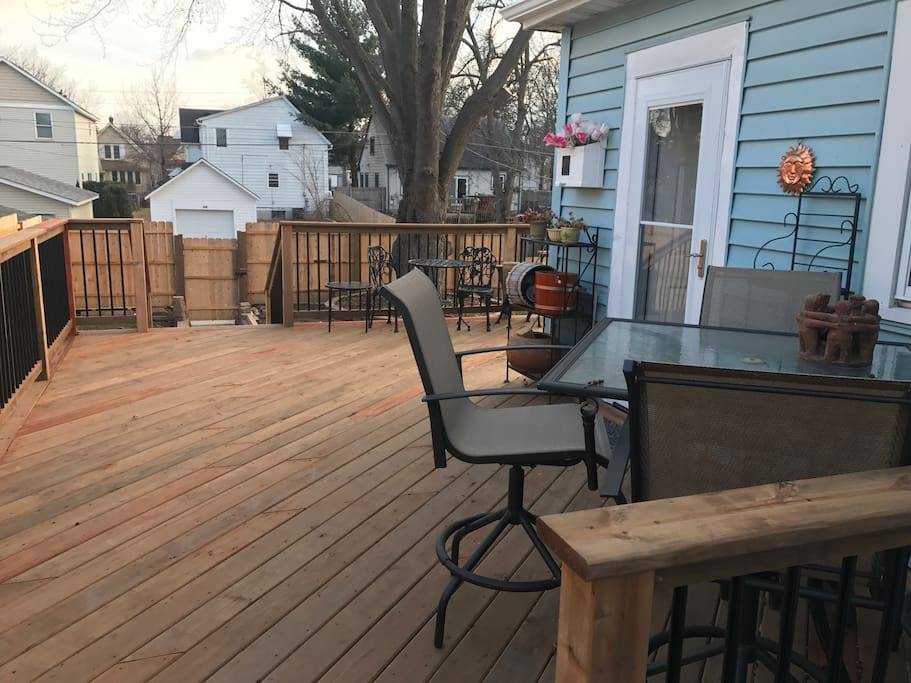 Brand new deck accessible from the back door.