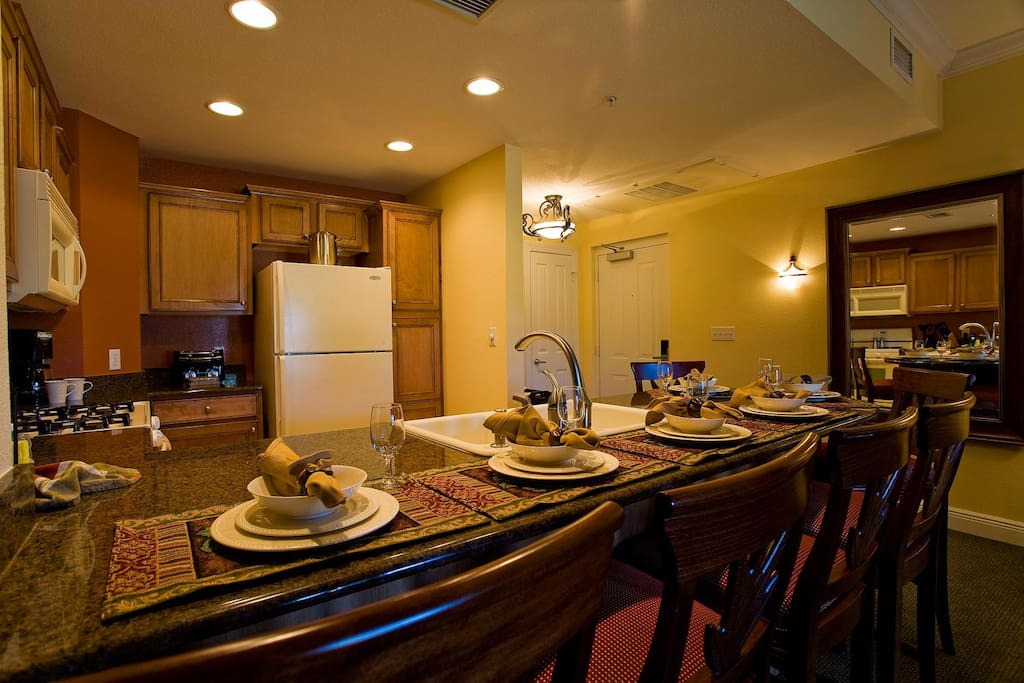 Kitchen dining counter seats six
