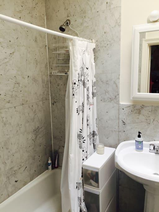 Bathroom with toiletries. And a skylight!