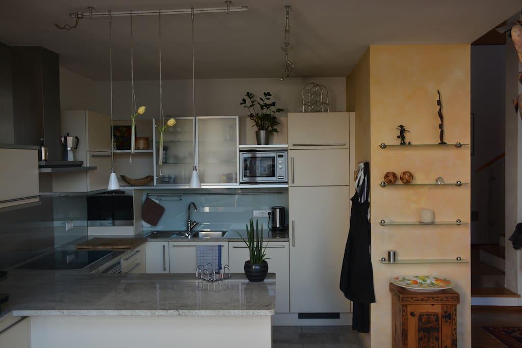 Moderne Küche mit Dampfgarer, Backofen, Geschirrspüler und Mikrowelle.