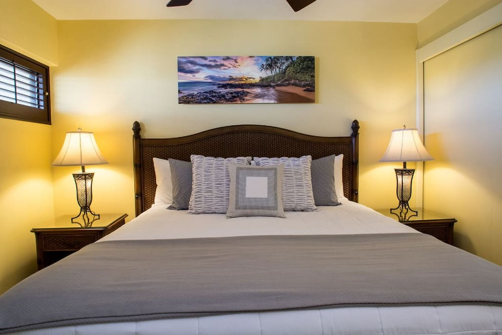 King bed with Hotel Collection Egyptian Cotton sheets