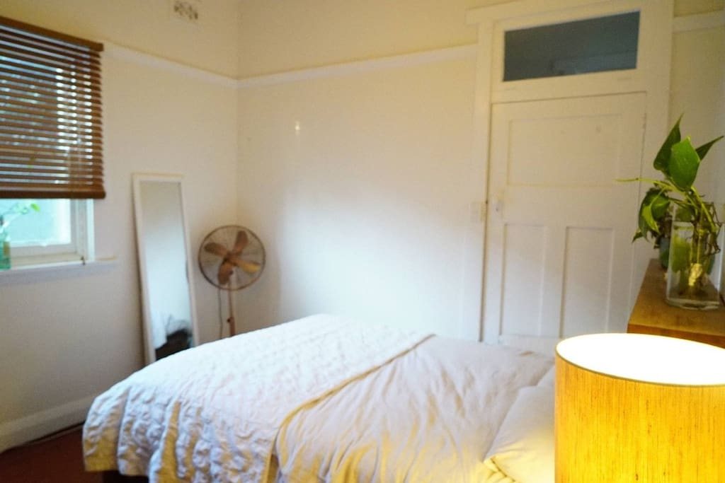 The room has a Queen bed, fan, electric blanket, mirrors, desk etc.