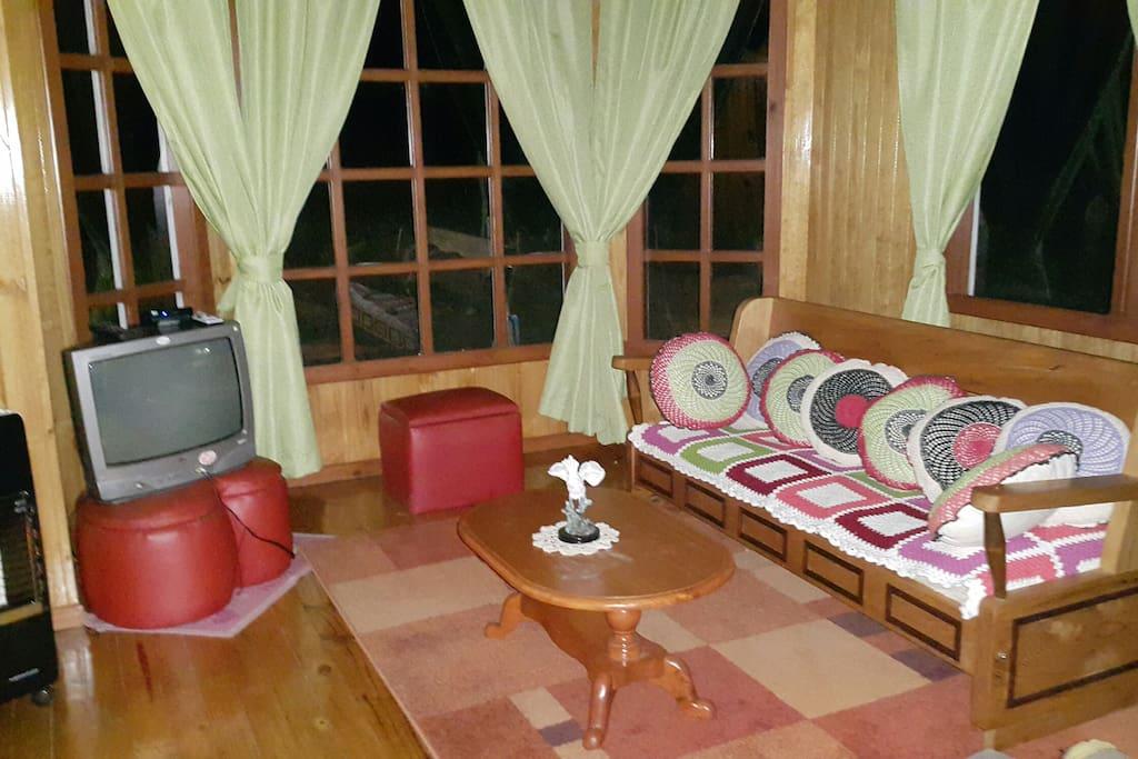 Sala de estar de la cabaña