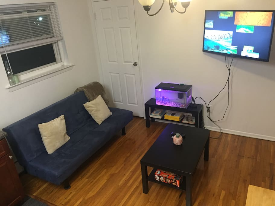 Living room equipped with a futon, coffee table,  jenga, Flat Screen TV with Apple TV already signed into HULU,HBO, netflix, showtime, abcfamily and more! Many national geographic magazines so you can catch up on some science news!