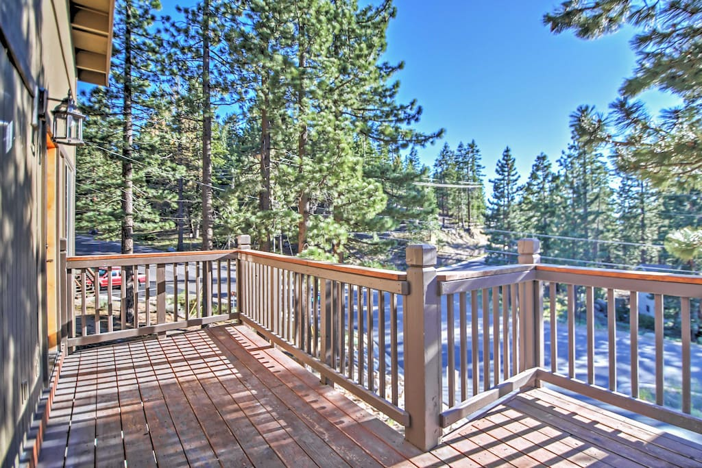 Admire beautiful forest views from the private deck.