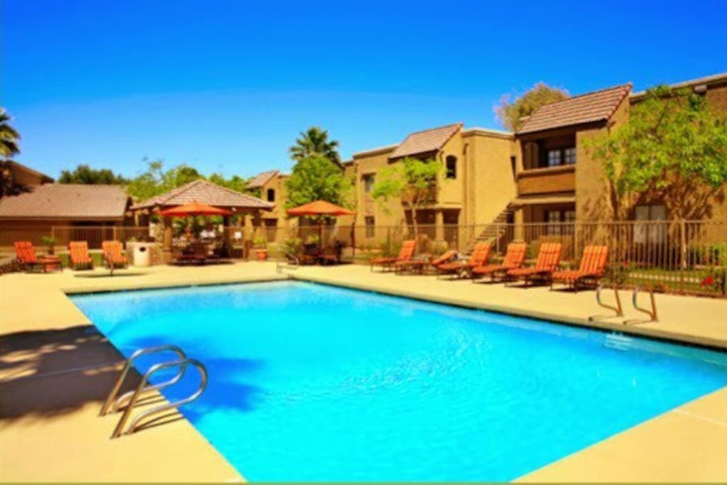 2 community pools and a hot tub. Also outdoor grills.