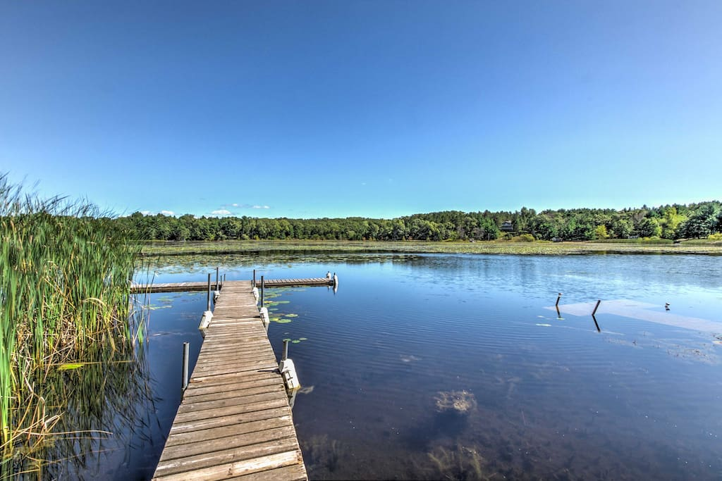 The cabin is located on School Section Lake and is the ideal vacation destination for anyone who loves being outdoors.