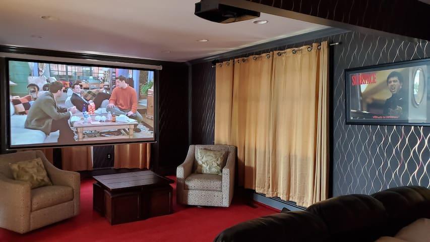 big screen movie room