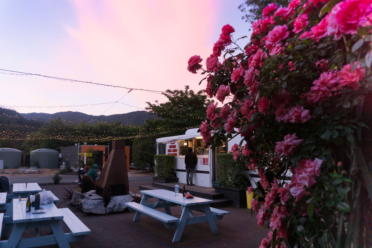 Our courtyard/reception/food bus at sunset!