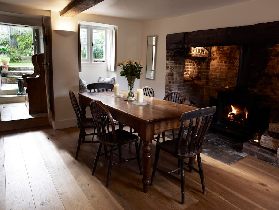 Dining Hall with antique dining table