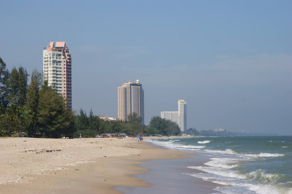 Beach in front of the building