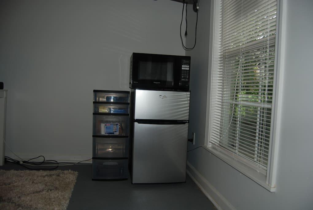 Microwave and mini-fridge provided.
