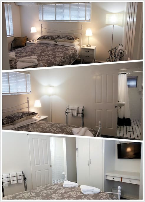 Room 3 'Charlotte Suite' - Queen Bed en-suite. This room have TV, wardrobe, luggage Stand, free Wi-Fi, smartphone USB charge device (only need to bring your own cable!) (approx. 22m2)