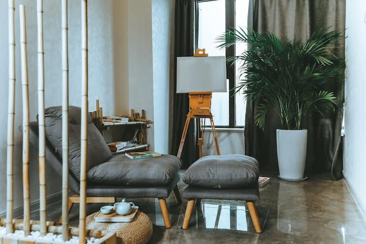 超热地暖-「竹笙」文艺新中式,超大投影,懒人沙发,可画画品茶看电影,地铁二号线、四号线直达
