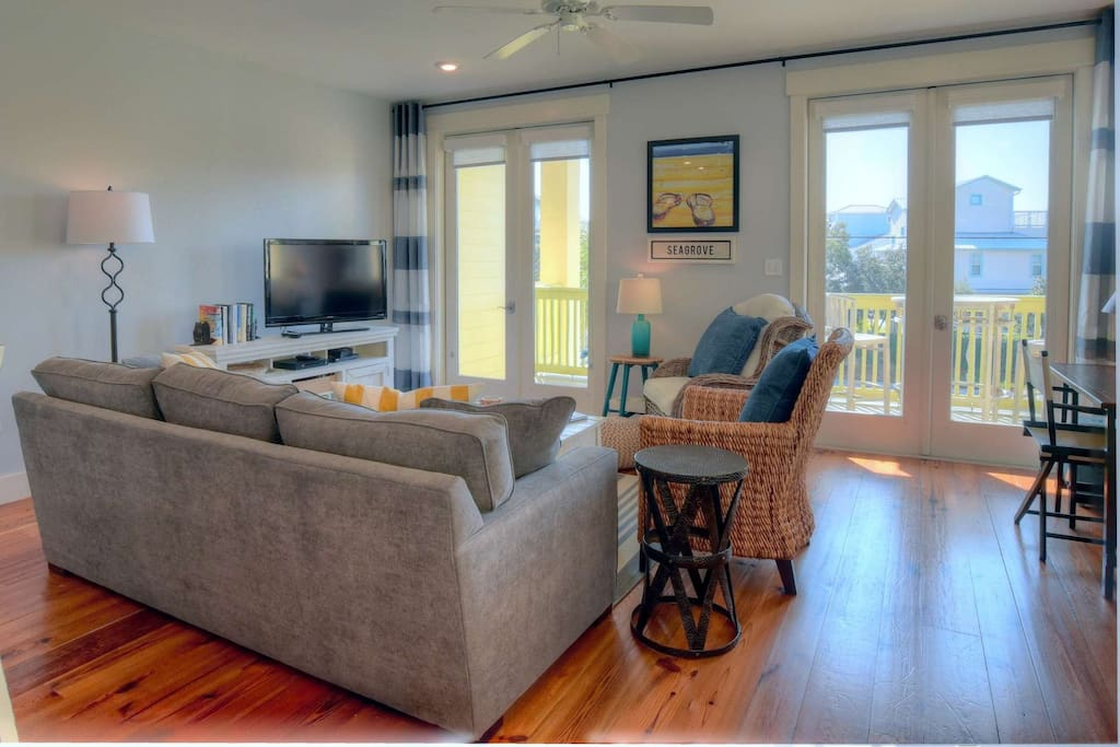 Cozy Living Area and Balcony Access for Enjoying the Fresh Salt Air and Gulf Breezes along 30A