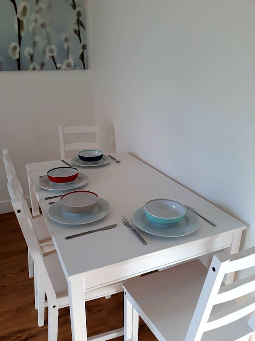 Brand new & sturdy wooden table with 4 chairs