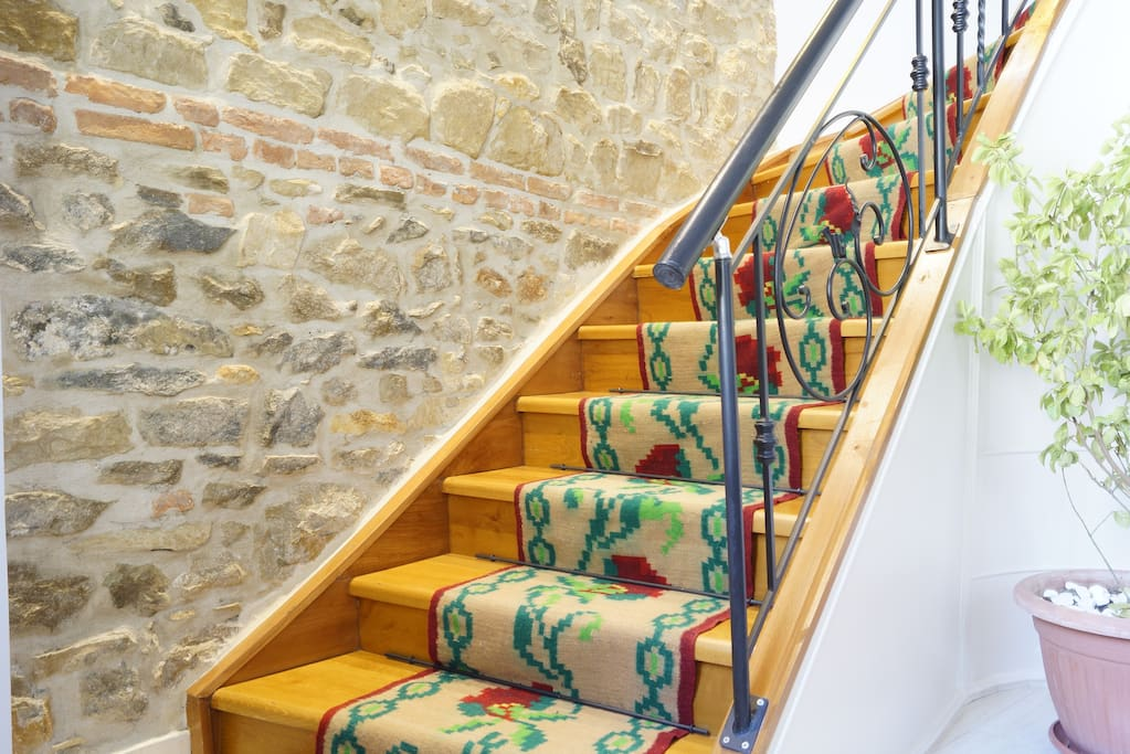 These are the entrance stairs, our rooms are located on the second floor