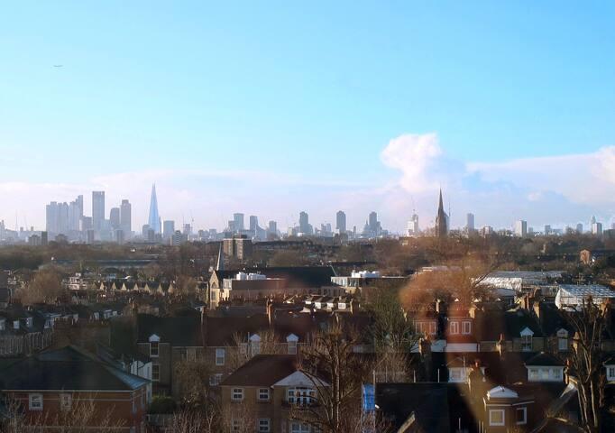 Bright Hackney flat with panoramic London views.