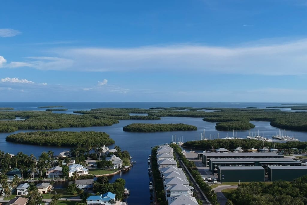 Higher aerial view of our canal showing some of those 10,000 islands are not very far away!  Calusa Island Marina is on the right where you can rent jet skis and boats to explore the 10,000 Islands