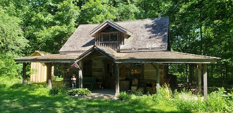 Historic Settler's Log Cabin in Private Forest