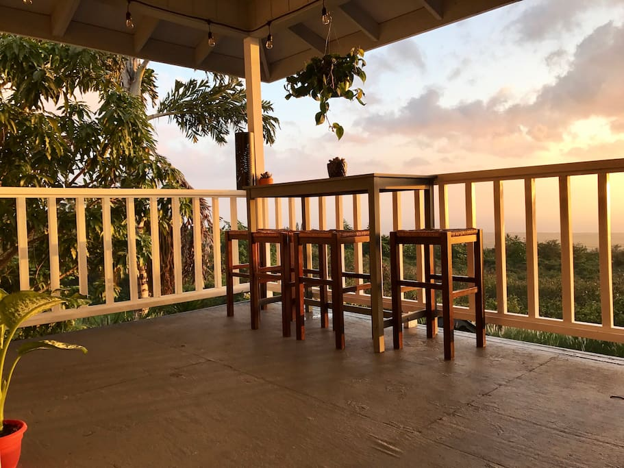 Pull up a stool at our high top table and enjoy a glass of wine during sunset