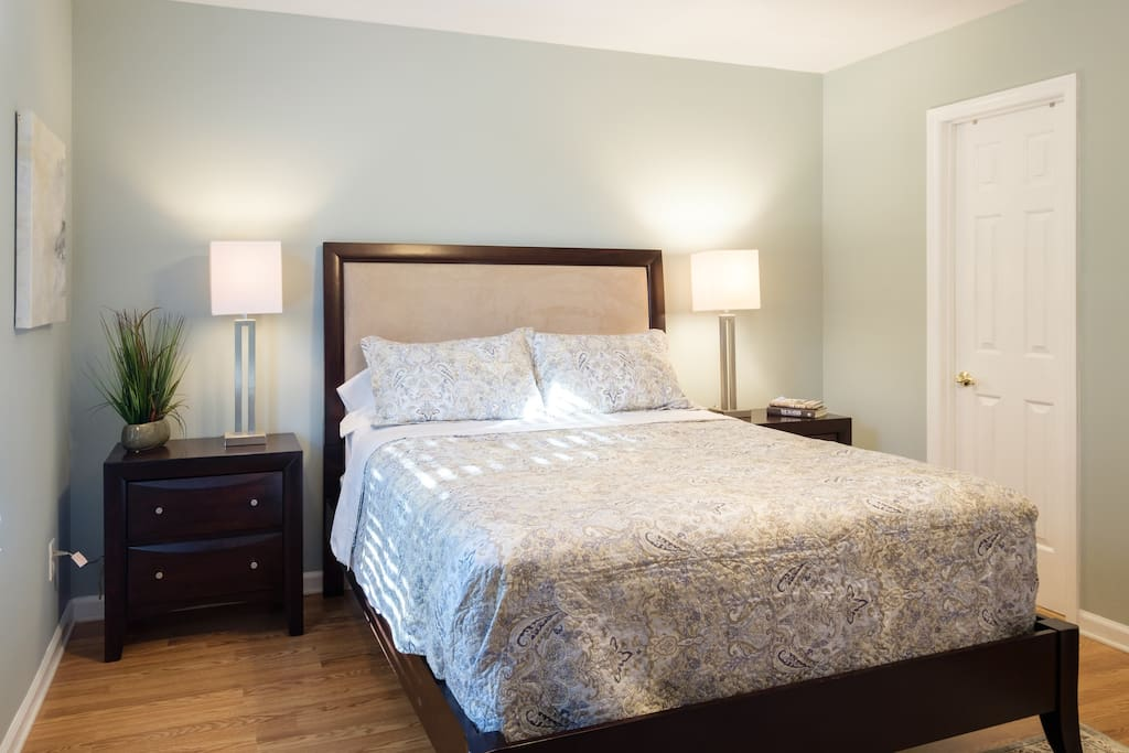 Master Bedroom is located upstairs and overlooks the backyard.  Direct access to the full bath