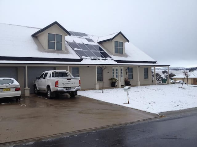 Snow cover home in July in Bathurst