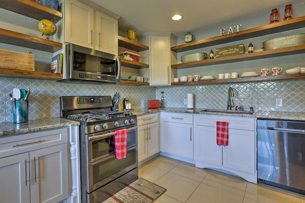 Cooking in the fully equipped kitchen is real treat.