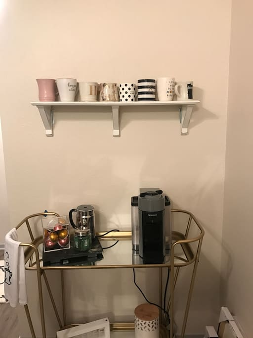 Coffee cart with Nespresso machine
